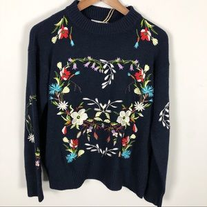 Woven Heart embroidered floral sweater